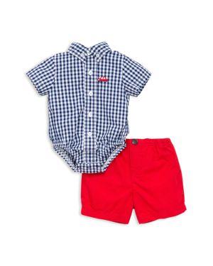 Little Me Boys' Gingham Car Bodysuit & Shorts Set - Baby 2519066