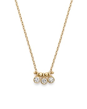 Zoë Chicco - 14K Yellow Gold and Diamond Bezel-Set 3 Necklace, 16""