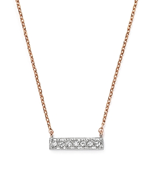 Dana Rebecca Designs 14K White & Rose Gold Sylvie Rose Mini Bar Necklace with Diamonds
