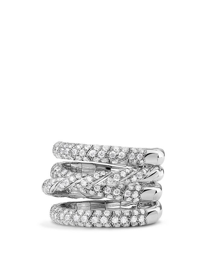 David Yurman - Pavé Flex Four Row Ring with Diamonds in 18K White Gold