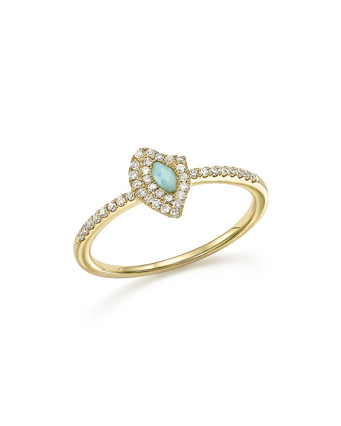 Meira T - 14K Yellow Gold Larimar Ring with Diamonds