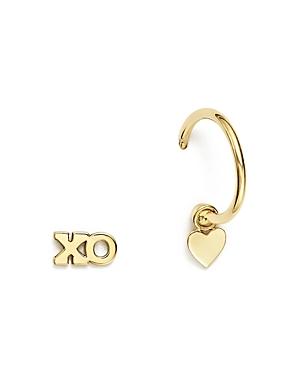 Zoe Chicco 14K Yellow Gold Itty Bitty Mixed Xo Stud and Huggie Hoop with Heart Charm Earrings
