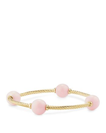 David Yurman - Mustique Four Station Bangle Bracelet with Pink Opal in 18K Yellow Gold