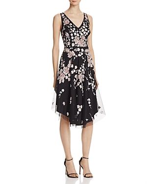 Aidan Mattox Beaded Floral Midi Dress