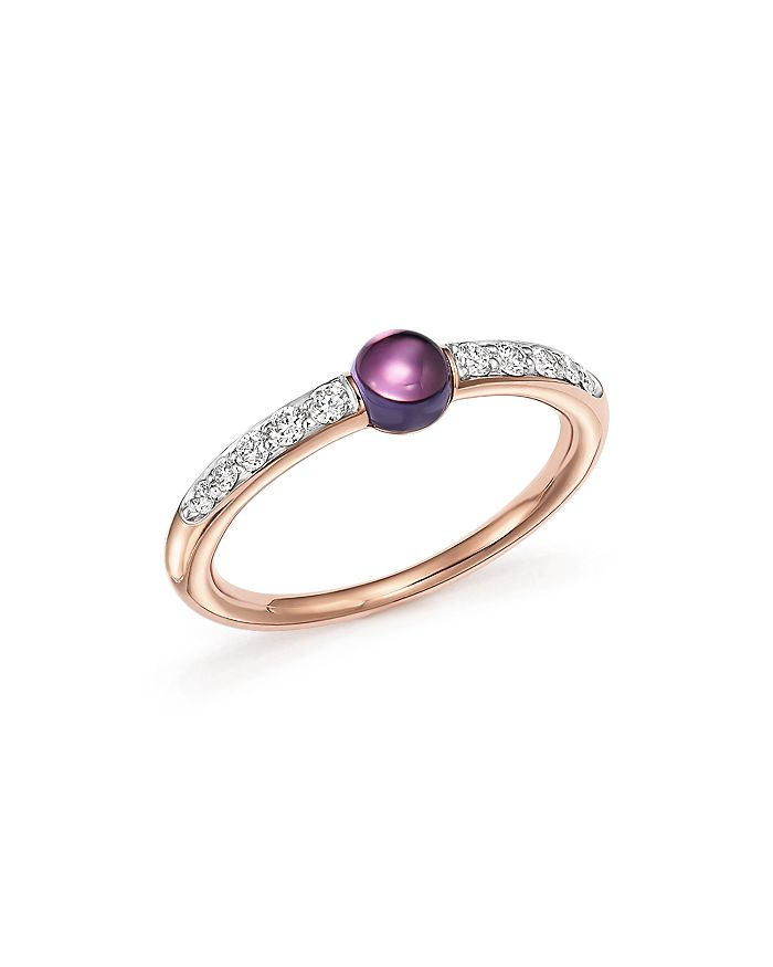 Pomellato - M'Ama Non M'Ama Ring with Amethyst and Diamonds in 18K Rose Gold
