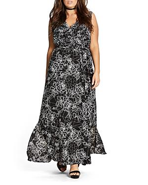 New City Chic Rose Cage Maxi Dress, Black