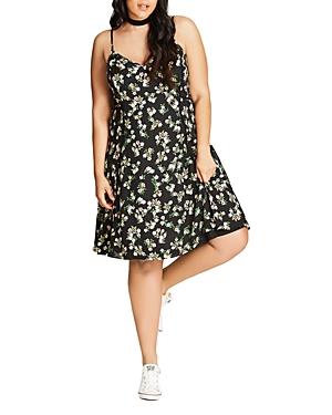 New City Chic Pretty Daisy Dress, Black