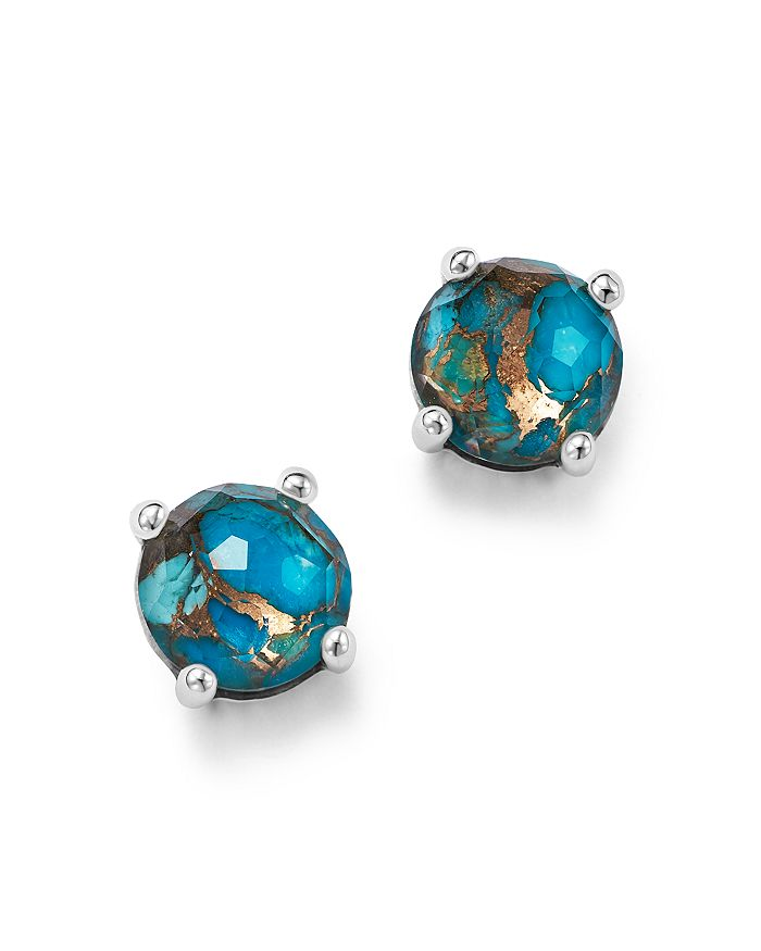 IPPOLITA - Sterling Silver Rock Candy® Mini Stud Earrings in Clear Quartz and Bronze Turquoise