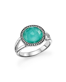 IPPOLITA - Sterling Silver Stella Mini Lollipop Ring in Turquoise Doublet with Diamonds