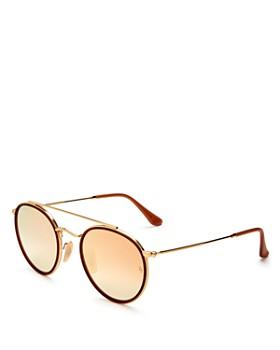 Ray-Ban - Unisex Mirrored Brow Bar Round Sunglasses, 51mm