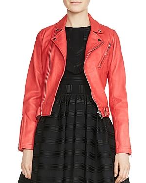 Maje Bostep Leather Moto Jacket