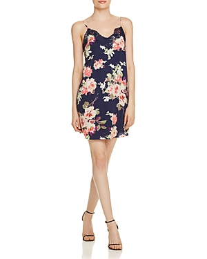 Aqua Lace Trim Floral Slip Dress - 100% Exclusive