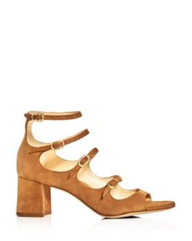 MARION PARKE - Women's Bernadette Suede Strappy Mary Jane Block-Heel Sandals