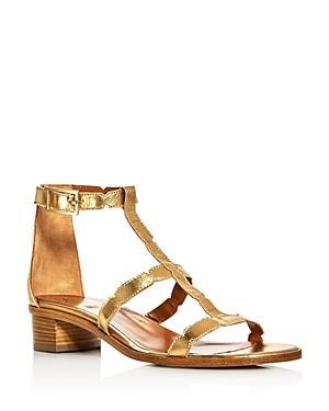 Aquatalia Risa Weatherproof Metallic T-Strap Block Heel Sandals