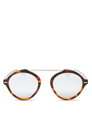 Dior Homme Diorsystems Mirrored Brow Bar Round Sunglasses, 49mm