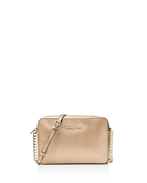 Michael Michael Kors Jet Set Travel East/West Metallic Large Saffiano Leather Crossbody