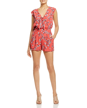 cupcakes and cashmere Fitz Floral Print Tie-Neck Romper