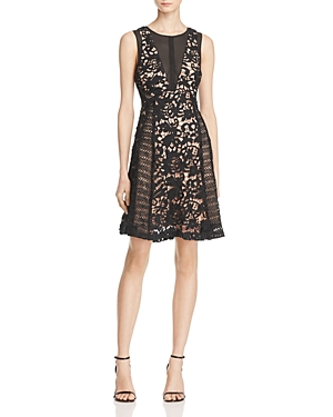 Adelyn Rae Loretta Illusion-Inset Lace Dress
