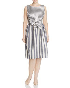 Lafayette 148 New York Plus Adaya Stripe Fit-and-Flare Dress