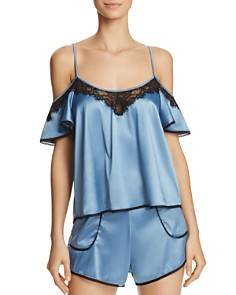 Thistle & Spire - Devoe Satin Flounce Off-the-Shoulder Cami & Satin Shorts