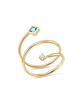Zoë Chicco - 14K Yellow Gold Diamond and Aquamarine Wrap Ring - 100% Exclusive