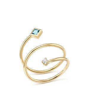 Zoe Chicco 14K Yellow Gold Diamond and Aquamarine Wrap Ring - 100% Exclusive