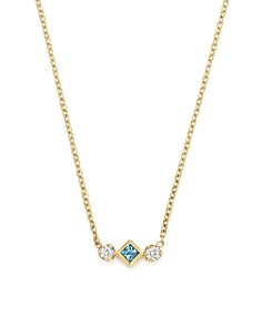 "Zoë Chicco - 14K Yellow Gold Pendant Necklace with Diamond and Aquamarine, 15"" - 100% Exclusive"
