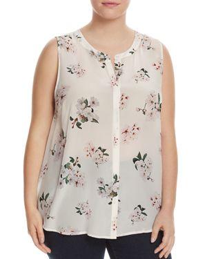 Lucky Brand Plus Floral Print Silk Blouse