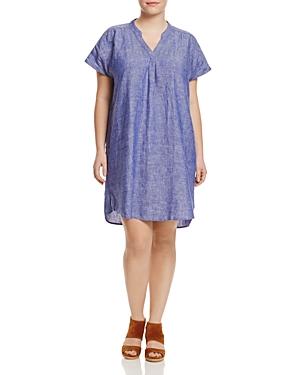 Foxcroft Plus Short Sleeve Linen Dress - 100% Exclusive