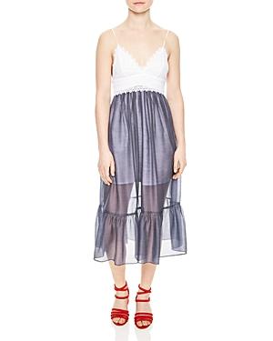 Sandro Siren Lace-Bodice Dress
