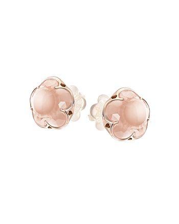 Pasquale Bruni - 18K Rose Gold Rose Quartz Floral Stud Earrings