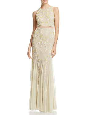 Adrianna Papell Illusion-Waist Embellished Gown