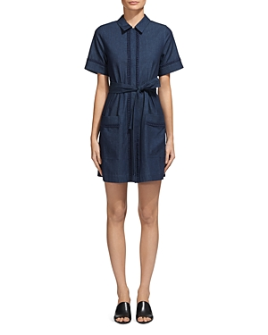Whistles Sylvia Lace Trim Shirt Dress