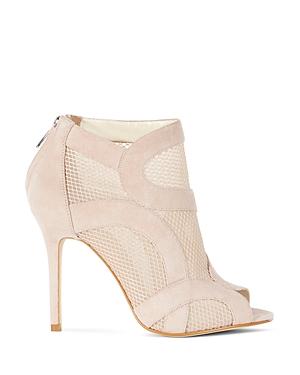 Karen Millen Suede and Mesh Peep Toe High Heel Booties