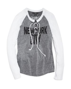So Nikki. Girls' Nyc Lace-Up Color Block Tee - Big Kid