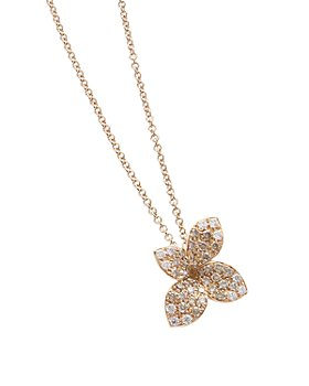 Pasquale Bruni - 18K Rose Gold Secret Garden Small Four Petal Pavé Diamond Pendant Necklace, 16""