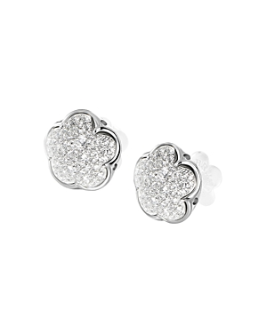 Pasquale Bruni 18K White Gold Pave Diamond Floral Stud Earrings