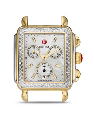 MICHELE Deco Diamond Diamond Dial Two-Tone Watch Case, 33Mm X 35Mm in Silver/ Gold