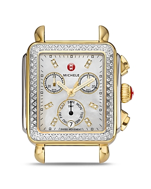 Michele Deco Diamond Two-Tone Watch Head, 33 x 35mm