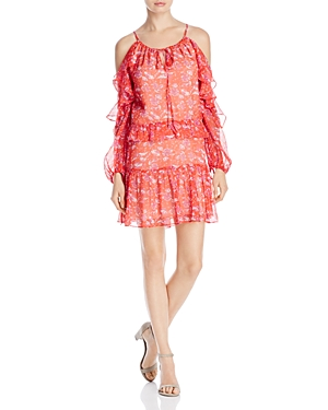 Adelyn Rae Ruffle Chiffon Cold Shoulder Dress