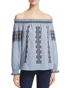 Joie Aina Embroidered Off-the-Shoulder Top - 100% Exclusive