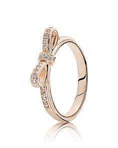 PANDORA 14K Gold, Sterling Silver & Cubic Zirconia Sparkling Bow Ring - Bloomingdale's_0
