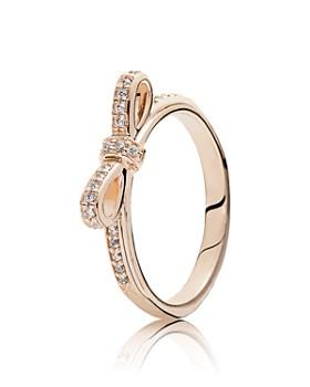 5e68e714d Pandora - 14K Gold, Sterling Silver & Cubic Zirconia Sparkling Bow Ring