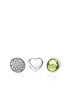 PANDORA - Sterling Silver, Peridot & Cubic Zirconia August Petites Charms, Set of 3
