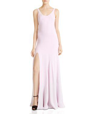 Halston Heritage Side-Slit Flounce Gown