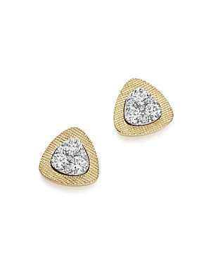 Diamond Triangle Stud Earrings in 14K Yellow and White Gold, .50 ct. t.w. - 100% Exclusive