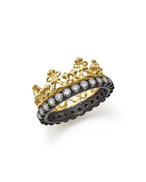Armenta 18K Yellow Gold and Blackened Sterling Silver Old World Half Crown Diamond Ring