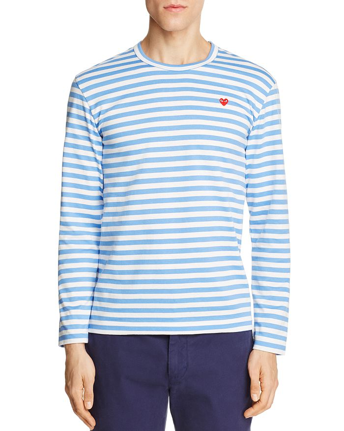 fe8f5b16fba0 Comme Des Garcons PLAY Comme Des Garçons PLAY Striped Logo Tee ...