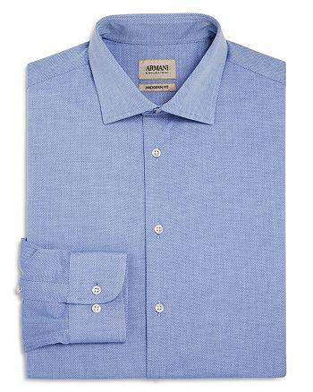Armani Collezioni - Micro Diamond Print Classic Fit Dress Shirt
