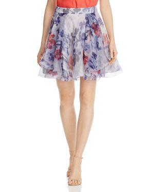 Armani Collezioni Floral-Print Silk A-Line Skirt